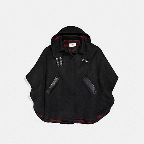 COACH PLAID CAPE - BLACK - f18030