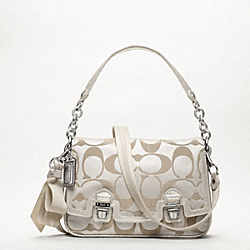 COACH POPPY SIGNATURE SATEEN PUSHLOCK FLAP BAG - ONE COLOR - F18357