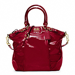 MADISON LINDSEY SATCHEL IN PATENT LEATHER - f18627 -  BRASS/CRIMSON
