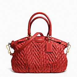 COACH MADISON QUILTED CHEVRON NYLON SOPHIA SATCHEL - BRASS/VERMILLION - F18637