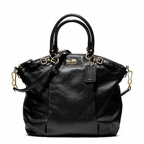COACH f18641 MADISON LINDSEY SATCHEL IN LEATHER  BRASS/BLACK