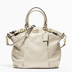 MADISON LEATHER LINDSEY SATCHEL - f18641 - BRASS/PARCHMENT