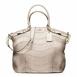 COACH MADISON GATHERED LEATHER LINDSEY SATCHEL - BRASS/PEARL - F18643