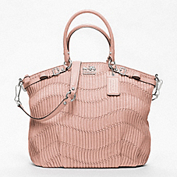 COACH MADISON LINDSEY SATCHEL IN GATHERED LEATHER - SILVER/TUBEROSE - F18643