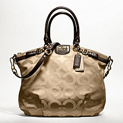 COACH MADISON OP ART SATEEN LINDSEY SATCHEL - BRASS/KHAKI/MAHOGANY - F18649