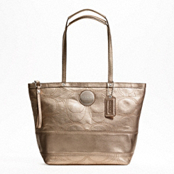 SIGNATURE STRIPE STITCHED METALLIC TOTE