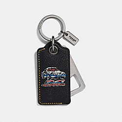 COACH VARSITY BOTTLE OPENER KEY FOB - BLACK - F18888