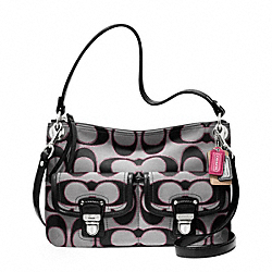 COACH POPPY METALLIC SIGNATURE SATEEN HIPPIE - SILVER/MOONLIGHT/PK SCARLET - F18980