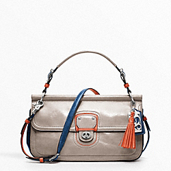 COACH LEATHER COLORBLOCK CITY WILLIS - SILVER/GREY/TANGELO - F19035