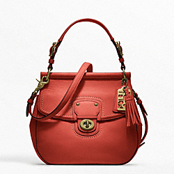 COACH LEATHER NEW WILLIS CROSSBODY - BRASS/VERMILLION - F19132