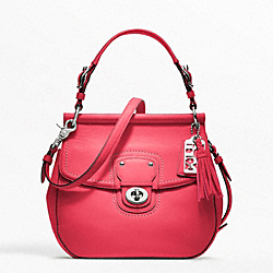 NEW WILLIS CROSSBODY IN LEATHER - f19132 -  SILVER/PINK SCARLET