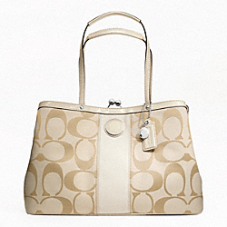 COACH SIGNATURE STRIPE FRAMED CARRYALL - SILVER/LIGHT KHAKI/WHITE - F19190