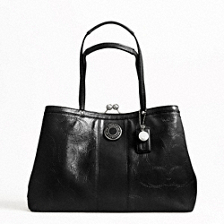 SIGNATURE STRIPE STITCHED PATENT FRAMED CARRYALL