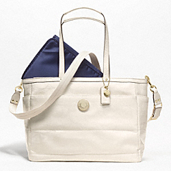 SIGNATURE STRIPE STITCHED PATENT MULTIFUNCTION TOTE