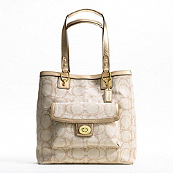 COACH PENELOPE LINEN SIGNATURE TOTE - ONE COLOR - F19266