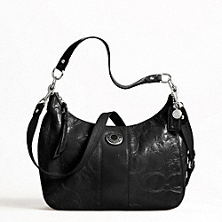SIGNATURE STRIPE STITCHED PATENT CONVERTIBLE HOBO