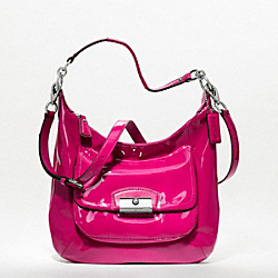 COACH KRISTIN PATENT LEATHER HOBO - SILVER/RASPBERRY - F19299