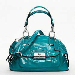 COACH KRISTIN PATENT LEATHER DOMED SATCHEL - SILVER/TEAL - F19301