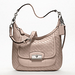 COACH KRISTIN WOVEN LEATHER HOBO - SILVER/TUBEROSE - F19314