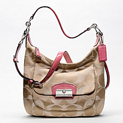 COACH KRISTIN SIGNATURE SATEEN HOBO - SILVER/LIGHT KHAKI/ROSE - F19335