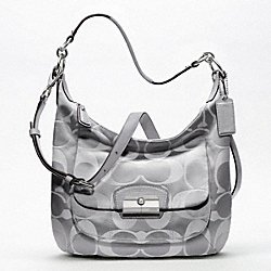 COACH KRISTIN SIGNATURE SATEEN HOBO - SILVER/GREY - F19335