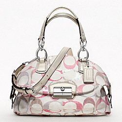 COACH KRISTIN EMBELLISHED SIGNATURE DOMED SATCHEL - SILVER/BEGONIA MULTI - F19338
