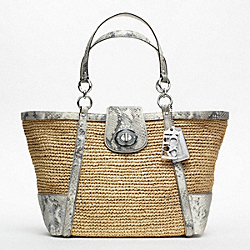 COACH HAMPTONS WEEKEND STRAW PYTHON MEDIUM TOTE - ONE COLOR - F19359