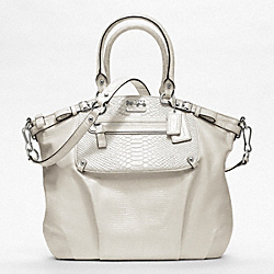 MADISON EMBOSSED MIXED EXOTIC POCKET LINDSEY SATCHEL