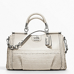 COACH MADISON CAROLINE DOWEL SATCHEL IN WOVEN LEATHER - SILVER/PARCHMENT - F19646