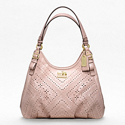 COACH MADISON MAGGIE SHOULDER BAG IN CRISS CROSS LEATHER - BRASS/BLUSH - F19839