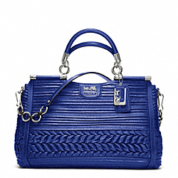 MADISON CAROLINE IN PLEATED GATHERED LEATHER - SILVER/ULTRAMARINE - COACH F19848