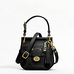 COACH LEATHER MINI NEW WILLIS - BRASS/BLACK - F19886