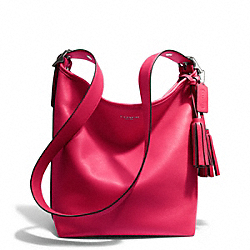 LEATHER DUFFLE - f19889 - SILVER/PINK SCARLET