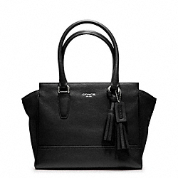 COACH CANDACE LEATHER CARRYALL - SILVER/BLACK - F19891