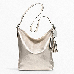 COACH METALLIC LEATHER LARGE DUFFLE - SILVER/CHAMPAGNE - F19896