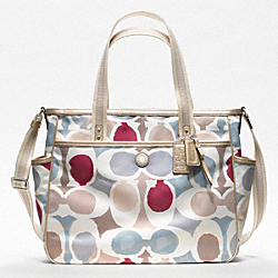COACH BABY BAG PAINTED SIGNATURE C TOTE - SILVER/MULTICOLOR - F19910