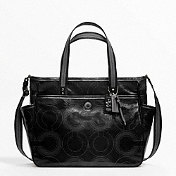 COACH BABY BAG STITCHED PATENT TOTE - SILVER/BLACK - F19911