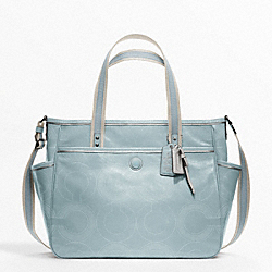 COACH BABY BAG STITCHED PATENT TOTE - SILVER/MIST - F19911