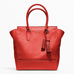 COACH LEATHER TANNER TOTE - SILVER/CARNELIAN - F19924