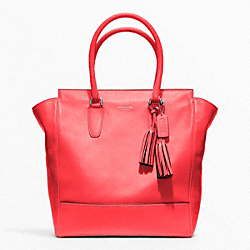 COACH LEATHER TANNER TOTE - SILVER/BRIGHT CORAL - F19924