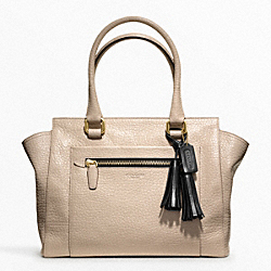 COACH TEXTURED LEATHER MEDIUM CANDACE CARRYALL - BRASS/CEMENT/BLACK - F19926