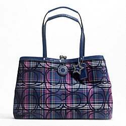 SIGNATURE STRIPE TARTAN FRAMED CARRYALL