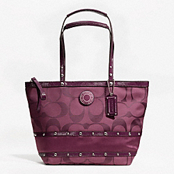 STUDDED SATEEN STRIPE TOTE