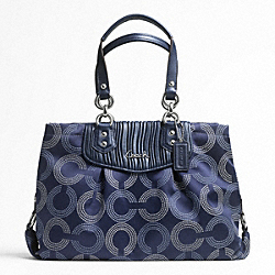 ASHLEY GATHERED DOTTED OP ART CARRYALL