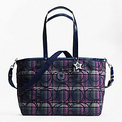 SIGNATURE STRIPE TARTAN MULTIFUNCTION TOTE