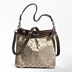 COACH ASHLEY SIGNATURE HIPPIE - SILVER/KHAKI/MAHOGANY - F20111