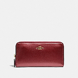 COACH ACCORDION ZIP WALLET - LIGHT GOLD/METALLIC CHERRY - F20145