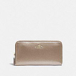 COACH ACCORDION ZIP WALLET - LIGHT GOLD/PLATINUM - F20145