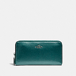COACH ACCORDION ZIP WALLET - BLACK ANTIQUE NICKEL/METALLIC DARK TEAL - F20145