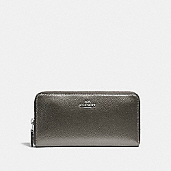 COACH ACCORDION ZIP WALLET - SILVER/GUNMETAL - F20145
